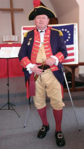 "Bob O'Neal, Commander of the Washington State Sons of the American Revolution (SAR) Color Guard, presents ""The Genealogy of Old Glory."""